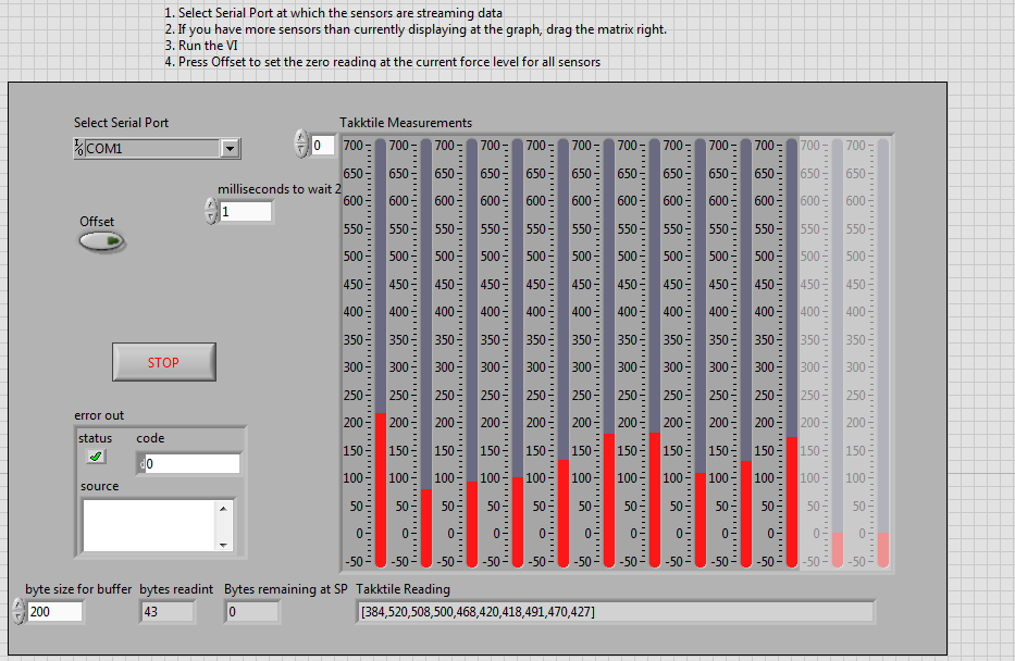 TakkTile and LabView - TakkTile